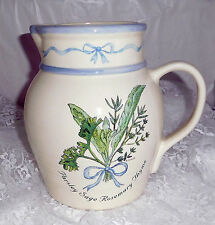 """Parsley Sage Rosemary Thyme Stonewear Pitcher - 8"""" tall x 9"""" wide at Handle"""