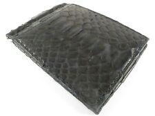 PELGIO Genuine Python Snake Skin Leather Money Clip Slim Bifold Wallet Black