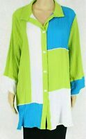 IC by Connie K Women Knit Top Green Size 3X Plus Colorblock Button Down $188 508