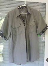 Most Official Seven MO7 Men's SS Button Front Military Style Gray Shirt Size XL