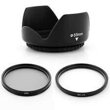55mm LENS Hood CPL UV Filters for Sony SAL-1855 18-55mm f/3.5-5.6 DT camera NEW