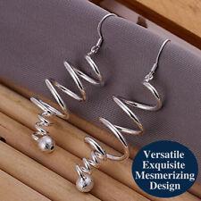 925 Sterling Silver Intricate Long Spiral Tornado Ball Curly Twist Drop Earrings