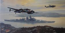 Mark Postlethwaite Print BISMARCK INTO BATTLE Luftwaffe Signed 7 veterans