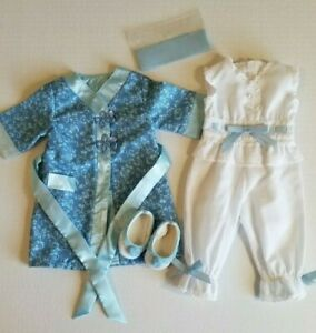 American Girl Doll Rebecca Rubin Pajamas, Robe, Slippers, and Ribbon in Boxes