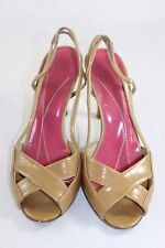 Kate Spade - Nude - Patent Leather Heels Size 6.5 Beige Slingbacks Made in Italy