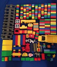 Lego Duplo BIG 240 Piece Lot Bricks Dump Truck Train Track People MORE