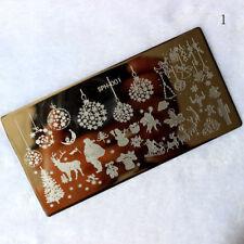 PIASTRE di stampaggio Nail Art Immagine PIASTRA Alberi Di Natale Renna Palline Babbo Natale SPH1