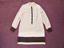 Banana Republic cream 100% silk long sleeve button front mini dress VGC UK 6