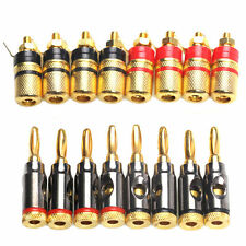 16Pcs 24k Gold Plated Banana Plug Audio Speaker Terminal Binding Posts Connector