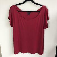 Eileen Fisher Women's Size XL Solid Red Short Sleeve Scoop Neck Silk Top
