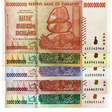 Zimbabwe 1, 5, 10, 20, 50 Billion Dollar Bills Money Currency Hyperinflation
