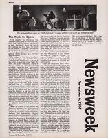 THE DOORS / JIM MORRISON ORIGINAL NOV. 6, 1967 NEWSWEEK PUBLICITY PROMO INSERT