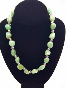 Vintage Natural Jade Jadeite Beaded Necklace with Pink AB Crystals
