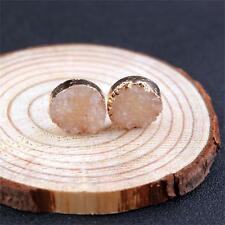 Women Unique Natural Stone Durzy Amethyst Crystal Quartz Ear Stud Earrings 1pair Orange