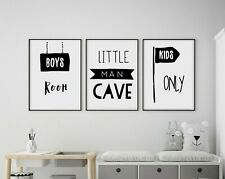 Set of 3 Little Man Cave Kids Only Room Nursery Wall Art Prints Black & White