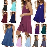 US Women Summer Cotton Vest Sleeveless Sundress Mini Beach Loose Dress Tank Top