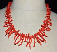 VTG 1/20 12k Yellow Gold Southwestern Long Red Branch Natural Coral Necklace (B)
