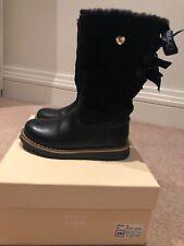 Armani Junior Navy Blue Leather Sheepskin lined Kids Boots Size EU 26 / UK 8.5