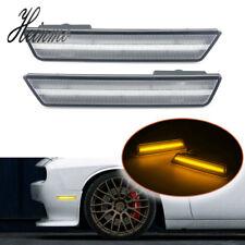 Clear Lens Amber LED Light Front Side Marker Lamp For 2008-2014 Dodge Challenger
