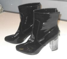 LADIES 38 EU UK 5 SEE THROUGH HEELS SHOES BLACK VICES PATENT BOOTS ZIP BACK