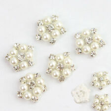5PCS Rhinestone Faux Pearl Flower Sewing Trim Craft Dress Costume Decor