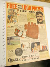 newspaper ad 1934 BABE RUTH Quaker cereal box baseball premium ball glove FULL