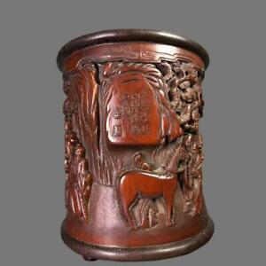 PERFECT CHINESE CARVED BAMBOO BRUSH POT WITH MARKED (K1051)