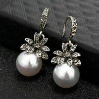 Women  Irregular Pearl Earrings Circle Geometric Drop Dangle Earrings Jewelry