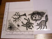 HALLOWEEN REALISTIC CAT SPIDER TREE SCREEN PRINTS TATTERED ANGELS CLEAR STAMPS