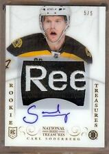 2013-14 NATIONAL TREASURES CARL SODERBERG RC AUTO LOGO PATCH 5/5!!