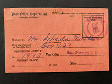 Puerto Rico 1951, USPS FORM 3811, Salvador Morales San German