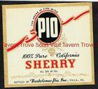 1940s Pennsylvania Philadelphia Bartolomeo PIO SHERRY Label
