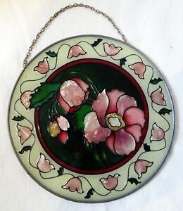"Vintage Joan Baker Designs Suncatcher Pink Flowers Chrysanthemums 6.5"" 1997"