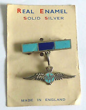A VINTAGE SILVER RAF SWEETHEART BROOCH WITH BLUE ENAMEL