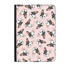 "White French Bulldog Pink Puppy Universal Tablet 9-10.1"" Leather Flip Case Cover"