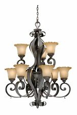 Vaxcel Hapsburg 9-Light Chandelier with Cognac Flake Glass - 32W in. Olde Iron