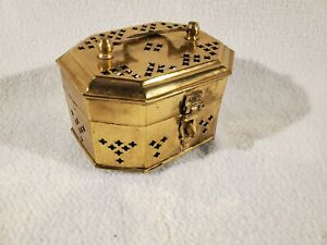 Vintage Brass Cricket Box Punched Trefoil, Hinged Lid, Trinket Box