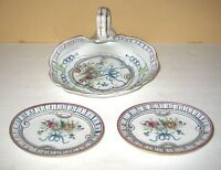 Vintage 3 Piece Bisque Porcelain Floral Shell Tray 2 Dishes Vanity Set #G1119