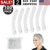 US! 100 Pcs Disposable Bouffant Elastic Hair Restraint  Non-Woven Surgical Caps