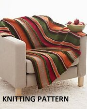 (162) Blanket Throw COPY Knitting Pattern, Easy Knit Stripes in Super Chunky