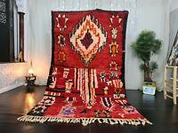 """Moroccan Handmade Vintage Boujaad Runner Rug 5'3x8'8"""" Red Floral Berber Wool Rug"""