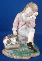 Antique 19thC Damm Boy w/ Dog Earthenware Figurine Steinzeug Figur Figure German