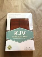 KJV Super Giant Print King James Version Brown Leather Touch Holy Bible New!