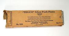 MINT 1920s VINTAGE PAIR OF TEGGO BEVELED EDGE CLEAR GLASS DOOR PUSH PANEL