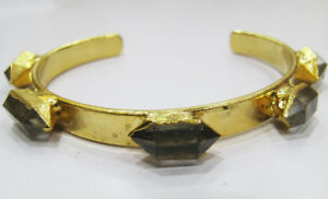 Fabulous Herkimer Diamond Gemstone Adjustable Silver & Gold Plated Bracelet.