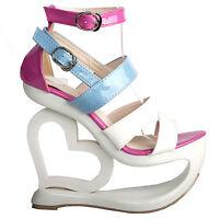 Sexy White Pink Blue Strappy Heart Heel Wedge Wedding Sandals Sz 2.5/3/4/5/6/7/8