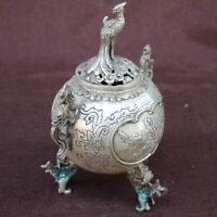 Chinese Copper Peony Peacock Incense burner Home Decoration Qianlong Year