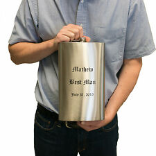 64oz (QTY 8) 1/2 Gallon Engraved Flask Groomsman Gift WEDDING up to 3 lines L1