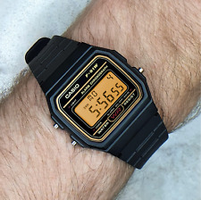 Genuine Casio F91W Watch (Gold detail) with Apricot Orange Screen Modification