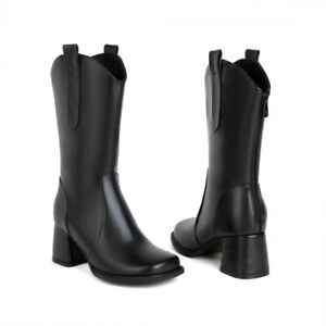Women 6.5cm Heel Mid Calf Riding Faux Leather Boots Square Toe Winter Warm Shoes
